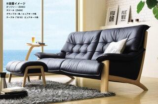カリモクZU49モデル/ZU4903/3Pソファ/本革張レザーソファ/肘掛ソファ/トリプルチェア/3人掛け長椅子/送料無料/日本製家具