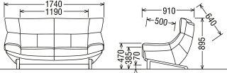 カリモクZU4612ZE/2人掛け椅子/2P本革ソファ/肘掛椅子/ハイバック/グレージュ/ラブソファ