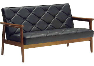 カリモクWS1183BW/肘掛椅子2Pソファブラック/合成皮革張ラブチェア/ビンテージ風/レトロ/古風/コンパクト/カリモク60風/カフェ