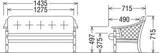 カリモクWC1002AK/肘掛け椅子/2P二人掛けソファ/布張り花柄カントリー調コロニアル/エレガンスローズ/籐ラタン/送料無料/日本製家具