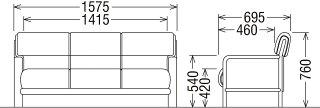 カリモクWS2933AD/肘掛長椅子3Pソファ/布張りチェア/ビンテージ風ファブリク/レトロ/古風/コンパクト/会議室・応接室腰掛/送料無料/日本製家具