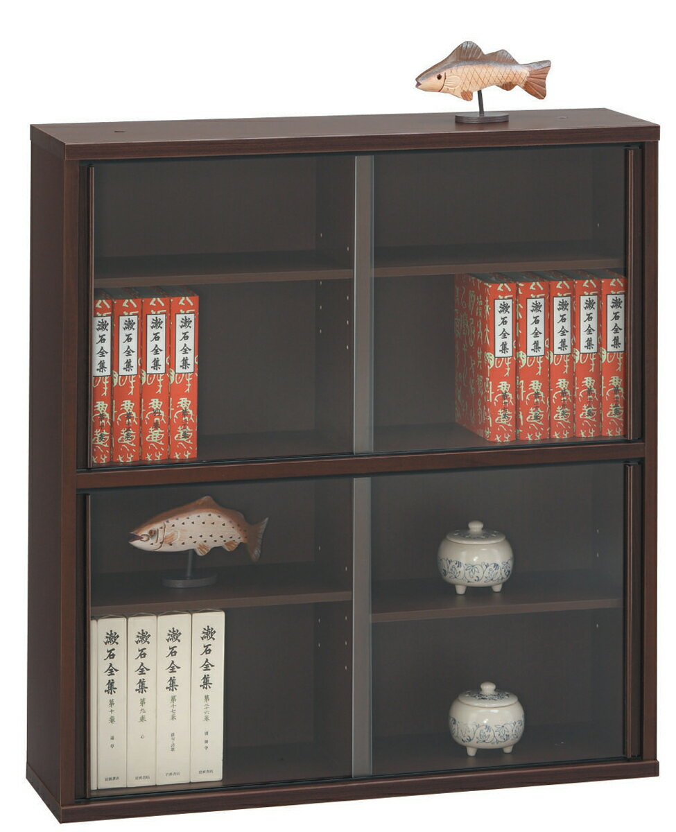 薄型収納ケース75 書棚 本棚 シェルフ ダーク ナチュラル ダーク コンパクト収納 ガラス引き戸 送料無料 日本製 三つ葉楽器