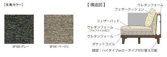 日本フクラ/アルシオンシェーズロング/平織布張ソファ/肘掛カウチソファ/ベージュ・グレー/カバーリング/ファブリック送料無料
