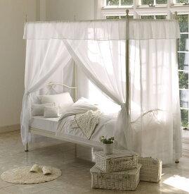 RB-B5020G天蓋付シングルベッド プリンセスお姫様系 お姫様ベッド 姫系家具 カーテン ベッド アイアン ロマンティック エレガント ホワイト白 送料無料 フレームのみ