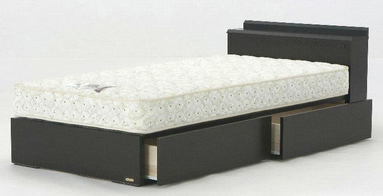 フランスベッド NLS-603DR ダブル 引出しタイプ ドロアー 宮付き 木製 おすすめ 使いやすい シンプル 棚付きコンセント付き ダーク 日本製家具 送料無料 フレームのみ
