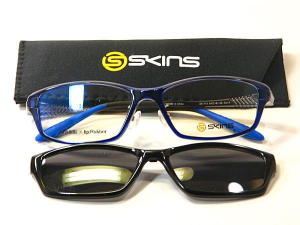 弾性樹脂【SKINS】ワンタッチ脱着式マグネットサングラス付【SK-113-C3】度付きレンズ付・送料無料