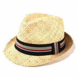 ストローハット メンズ ブランド ヘンシェル レディース ハット 夏 ラフィア STRAW HAT 中折れハット リボン メンズ 麦わら 春夏商品 M 58cm カラーボーダーリボン ナチュラルカラー [ straw hat ] (通販 ぼうし UVカット帽子 30代 オシャレ 中折れ帽子 中折れ帽)