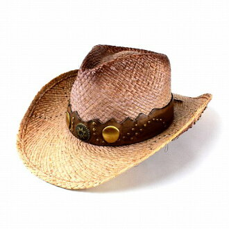 Hats / men's / straw hat / women's / Henschel / leather wrapped studs axe straw cowboy hat and raffia Fedora hat (senior day)