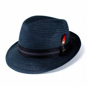 帽子 メンズ 中折れハット KNOX ストローハット ノックス リネンブレード レディース 麦わら帽子 光沢 夏 紺 ネイビー [ fedora ] [ straw hat ] (ぼうし おしゃれ サマーハット 中折れ 50代 中折れ帽
