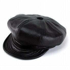 帽子 メンズ 帽子 ニューヨークハット ラムスキン キャスケット ハンチング帽 ブラック 9207 Lambskin Spitfire ハンチング帽子 黒 レザー 革 秋冬用 秋冬商品 帽子 ぼうし ハット ハンチング ハンチング帽 ハンチングキャップ [newsboy cap] ベイカーボーイハット
