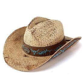 帽子 麦わら帽子 カウボーイハット 刺繍入り スタッズ ストローハット ラフィア素材 春夏 ウェスタンハット お洒落 つば広 テンガロンハット 個性的 麦わら帽 紳士 かっこいい 夏コーデ / ナチュラル [ cowboy hat ][ straw hat ]