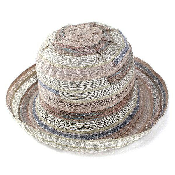ハット レディース 帽子 婦人 ブレードハット 日よけ ラメ入り コットン素材 春夏ファッション ベージュ(おしゃれ UV対策 イタリアブランド エレガント キラキラ uvカット 日よけ帽子 婦人帽子 紫外線対策 40代 50代 60代 ファッション小物 ブランド帽子 ぼうし)送料無料