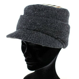 Hats men's knit knit Cap with a collar knit Oslo Dax check brand DAKS grey (knit hats shirts hats fall/winter gift man?, DAKS gentleman Hat brim with day warm winter Hat knit gifts dad Gifts Gift)