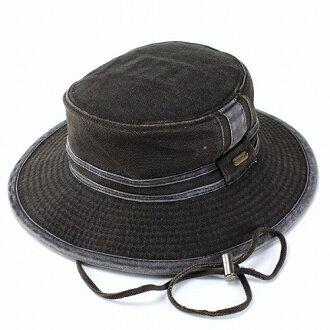 供有sutettoson STETSON bunihatto帽子军事冒险帽子棉布萨哈共和国再帽子帆布帽带的休闲的户外人男性使用的黑黑色