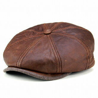 Newsboy leather mens / Stetson classic goatskin and supple Brown Leather Brown hat and sturdy /Hatteras] (winter boyfriend men, men's newsboy men's store) (senior day)