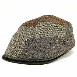 DAKS 是狩猎帽子男装 / 鸭冬季狩猎帽 / 多花纹羊毛材料 / 卡其色