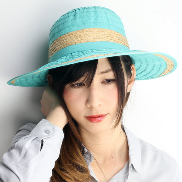 ハット レディース UVカット帽子 帽子 つば広 ラフィア リボン CRUSHER スカラ ドーフマン 紫外線対策 アウトドア アクア ライトブルー 青 Dorfman Pacific UVカット 女性用 上品 母の日 ギフト 送料無料 (ぼうし オシャレ)