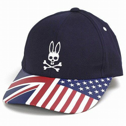PSYCHO BUNNY|サイコバニー サイコバニー 帽子 キャップ 星条旗×ユニオンジャックのブリム コットン100% Psycho Bunny ブランド ロゴ ネイビー 紺 女性用 野球帽 男性用 帽子 プレゼント [baseball cap] 送料無料 父の日