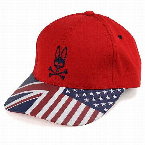 PSYCHO BUNNY|サイコバニー サイコバニー 帽子 キャップ 星条旗×ユニオンジャックのブリム コットン100% Psycho Bunny ブランド ロゴ レッド 赤 女性用 男性用 帽子 [baseball cap] 送料無料 (ぼうし オシャレ 通販)