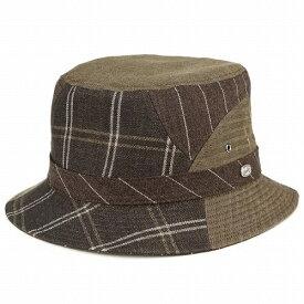 バケットハット 夏の帽子 ボルサリーノ メンズ カメラマンハット パッチワーク 麻 毛 ハット 茶 ブラウン(帽子紳士帽子 サファリハット メンズハット 登山 フェス ブランド帽子 サハリハット ミリタリーハット 中央帽子 バケットハット ぼうし) borsalino bucket hat