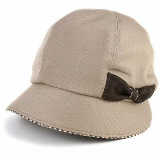 DAKS 是帽子鸭帽子妇女 kathcrocshe 帽子女士丝带别致秋冬日本制造 / 米色