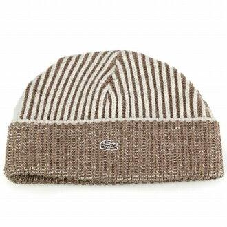 784cf6307a180 ELEHELM HAT STORE  Knit Cap Kamon   Lacoste lacoste   men s women s autumn  winter fashion   stripe knit wool   off-white (fall winter Hat)
