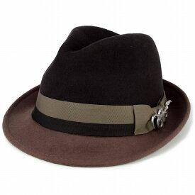 ハット メンズ 中折れハット CARLOS SANTANA フェルト ハット 帽子 メンズ 秋冬 中折れ帽子 フェルト 中折れ 紳士 カルロス サンタナ インポート 2トーンカラー 帽子 ウール ショートブリム フェドラ ギターバッジ 中折れ帽 茶 ブラウン トープ [fedora] フェルトハット