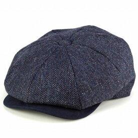 """【お得なクーポン配布中】 CHRISTYS' LONDON キャスケット メンズ クラシック 帽子 帽子 英国 ブランド クリスティーズ ハンチング ツイード 秋冬 ハンチング帽 紳士 """"Baker Boy"""" ネイビー ヘリンボーン [newsboy cap] ベイカーボーイハット"""