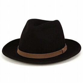 wigens ヴィゲーンズ 中折れハット メンズ 秋冬 上質な手触りのフェルトハット ワイドブリム 帽子 ブラック フェルト