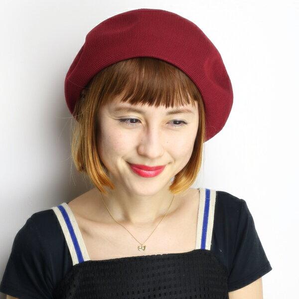 ベレー帽 レディース 帽子 大きめゆったりシルエット ベレー サマーニット 春夏 日本製 エンジ [beret](女性帽子 ニット レディース大きめ 婦人帽子 サマーニット帽子 サマーベレー帽 40代 50代 60代 70代 ファッション ニットベレー帽 ベレー帽子 かわいい ぼうし)