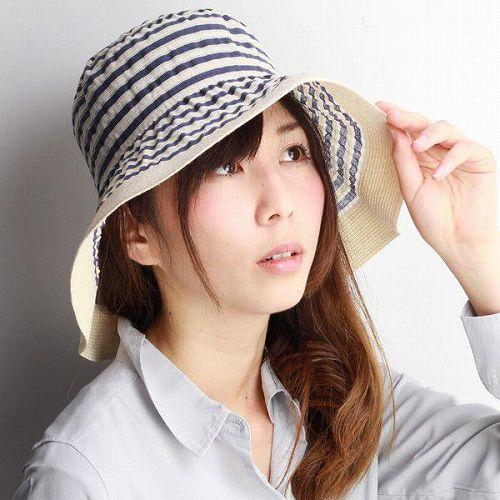 GREVI 帽子 レディース つば広ハット グレヴィ 春夏 ツバ広ハット ボーダー 紫外線対策 イタリア製 ブランド帽子 おしゃれ 40代 50代 60代 70代 ファッション マリン 軽い 青 ブルー [hat](婦人帽子 ギフト プレゼント UVカット帽子 女優帽 ファッション小物 日よけ ぼうし)