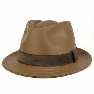 KASZKIET 帽子男士帽子甚而帽子棺材的意大利皮革豪华帽帽男式皮革制品皮革帽子波兰皮革 fedora / 骆驼 (尊重老年的节礼物) [10P01Oct16]