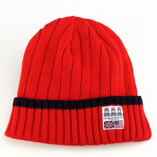 PCYCHO BUNNY サイコバニー ニットワッチ 帽子 メンズ ニット帽 赤 レッド ギフト プレゼント 包装