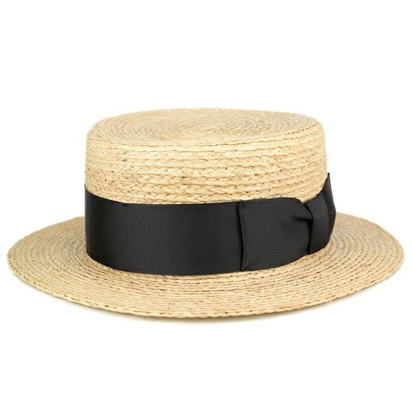 カンカン帽 ストローハット メンズ レディース ラフィア ブレード 大きなリボン 麦わら帽子 サイズ調整可 夏 涼しい 春 ボーターハット キャノチエ ベージュ [boater hat](ハット 大きいサイズ 59cm 60cm かんかん帽 ラフィアハット 大きめ 紳士帽子 メンズハット)