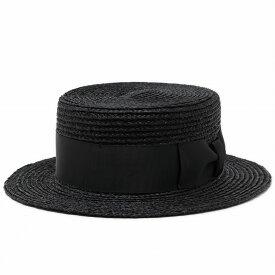 ストローハット 黒 カンカン帽 メンズ レディース ラフィア ブレード 大きなリボン 麦わら帽子 サイズ調整可 夏 涼しい 春 ボーターハット キャノチエ ブラック [boater hat](ハット 大きいサイズ 59cm 60cm かんかん帽 ラフィアハット 大きめ 紳士帽子 メンズハット)