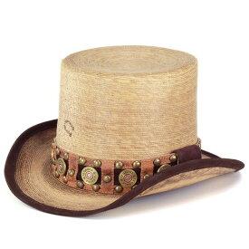 チャーリーワンホース シルクハット ストローハット メンズ ハット 春夏 個性派 クラウンが高い帽子 ユニーク 麦わら帽子 スタッズ付き charlie 1 horse [straw hat] (ストロー) [boater hat] ギフト 麦わらハット(40代 50代 60代 70代 ファッション 紳士帽子 メンズハット)