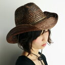 ウエスタンハット レディース scala ストローハット レディース UVカット帽子 日よけ 春夏 カウボーイハット メンズ テンガロン 柄 ミックスブレード ハット 幾何学模様 scala 帽子 ひも付き スカラ ハット 大きいサイズ 茶 チョコレートブラウン [cowboy hat]