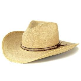 ウエスタンハット ツバ広 ハット メンズ ストローハット ステットソン 夏 帽子 パームブレード stetson カウボーイ テンガロン 大きいツバ ナチュラル ベージュ系 / SAWMILL [ cowboy hat ][ straw hat ]