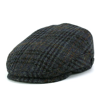 59cf277e1 KASZKIET hunting Cap Hat mens / casket Harris Tweed flat Cap large size /  autumn/winter wool import hunting check pattern size-rich blue (the 50s ...