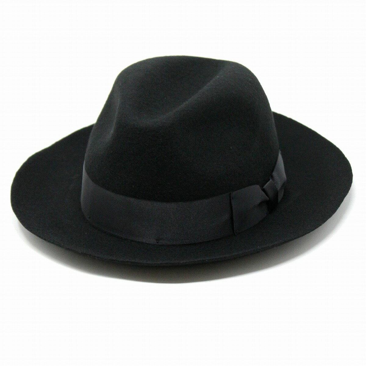 MAZZONI 中折れハット メンズ 秋冬 イタリア フェルトハット 中折れ帽 マッツォーニ フェルト帽 黒 ブラック(40代 50代 60代 70代 ファッション 紳士帽子 無地 ウール ウールハット 30代 フェルト帽子 プレゼント) [ fedora ]