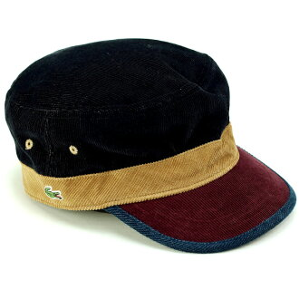 a2e656c7bc4 Lacoste Cap corduroy men s autumn-winter men s Cap Lacoste hat made in  Japan Wani mark de Gaulle 3 tone color Cap gentleman fashionable Navy Blue  (aged