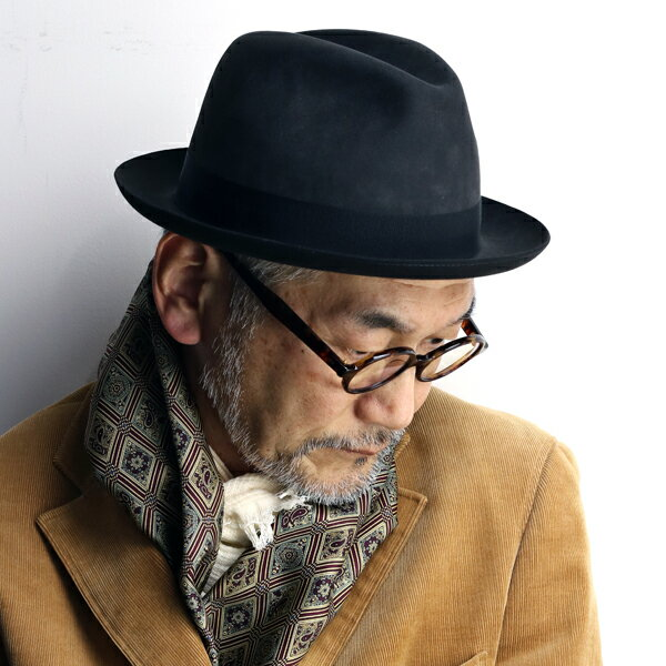 フェルトハット 大きいサイズ イタリア製 ビーバーフェルト TESI 中折れハット 秋冬 テシ 中折れ帽子 フェルト帽 きめが細かい 滑らか 最高級 ソフトハット 60m 62cm フォーマル チャコールグレー[felt hat](メンズ帽子 ブランド帽子 リボン 紳士帽子 ぼうし)