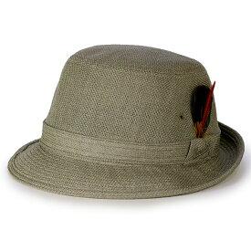 ボルサリーノ 帽子 ハット メンズ 春 夏 日本製 リネトロンミックス Borsalino アルペンハット 羽根付き 涼しい サイドフェザー付き ファッション S M L サイズ カラバリ豊富 / オリーブ [ alpine hat ] ボルサリーノ 帽子通販 男性 帽子 プレゼント 50代 60代