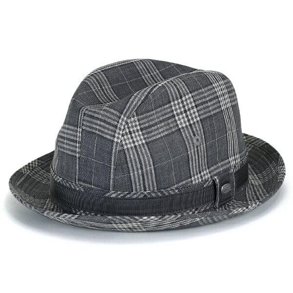 ボルサリーノ 春夏 ボルサリーノ 中折れ ハット メンズ グレンチェック 麻 ビンテージリネン お洒落 borsalino 日本製 帽子 サイズ調節可 レディース グレー [ fedora ](メンズ帽子 紳士帽子 中折れ帽子 40代 50代 60代 70代 ファッション 男性 ブランド)