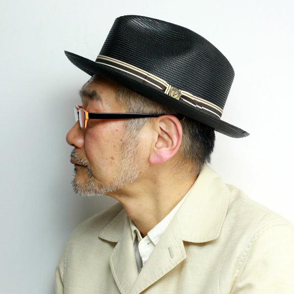 ストローハット メンズ 春夏 大きいサイズ Dobbs 中折れ ブレード 麦わら帽子 ミラノブレード ドブス アメリカ製 ブランド ハット 紳士 ストライプ リボン MOCKING BIRD 黒 ブラック [ straw hat ] プレゼント ギフト