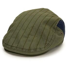 ノックス ハンチング メンズ ストライプ 春夏 帽子 日本製 コットン100% knox ハンチング帽 紳士 ウェザー バイオウォッシュ アイビーキャップ サイズ調整 58cm 59.5cm バイカラー カジュアル / カーキ[ ivy cap ]