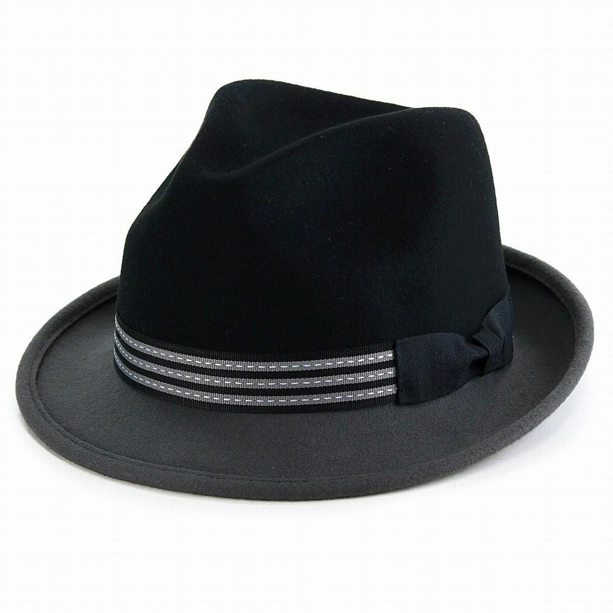 フェルトハット メンズ LTC KennyK 中折れ 帽子 秋冬 ハット 2トーン フェドラ ウール100% ソフトハット 中折れハット レディース フェルト帽 リボン シンプル 中折れ帽 紳士 フォーマル おしゃれ 黒 ブラック/グレー [ fedora ] ギフト プレゼント