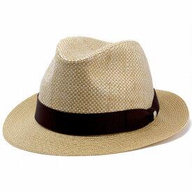 ダックス ストローハット メンズ daks 帽子 中折れ ハット DAKS 中折れ帽 紳士 シンプル ペーパーハット フラット ブレードハット BL型 サイズ調節 60cm 日本製 麦わら帽子 リボン 無地 / ベージュ [ fedora ] 父の日 ギフト プレゼント