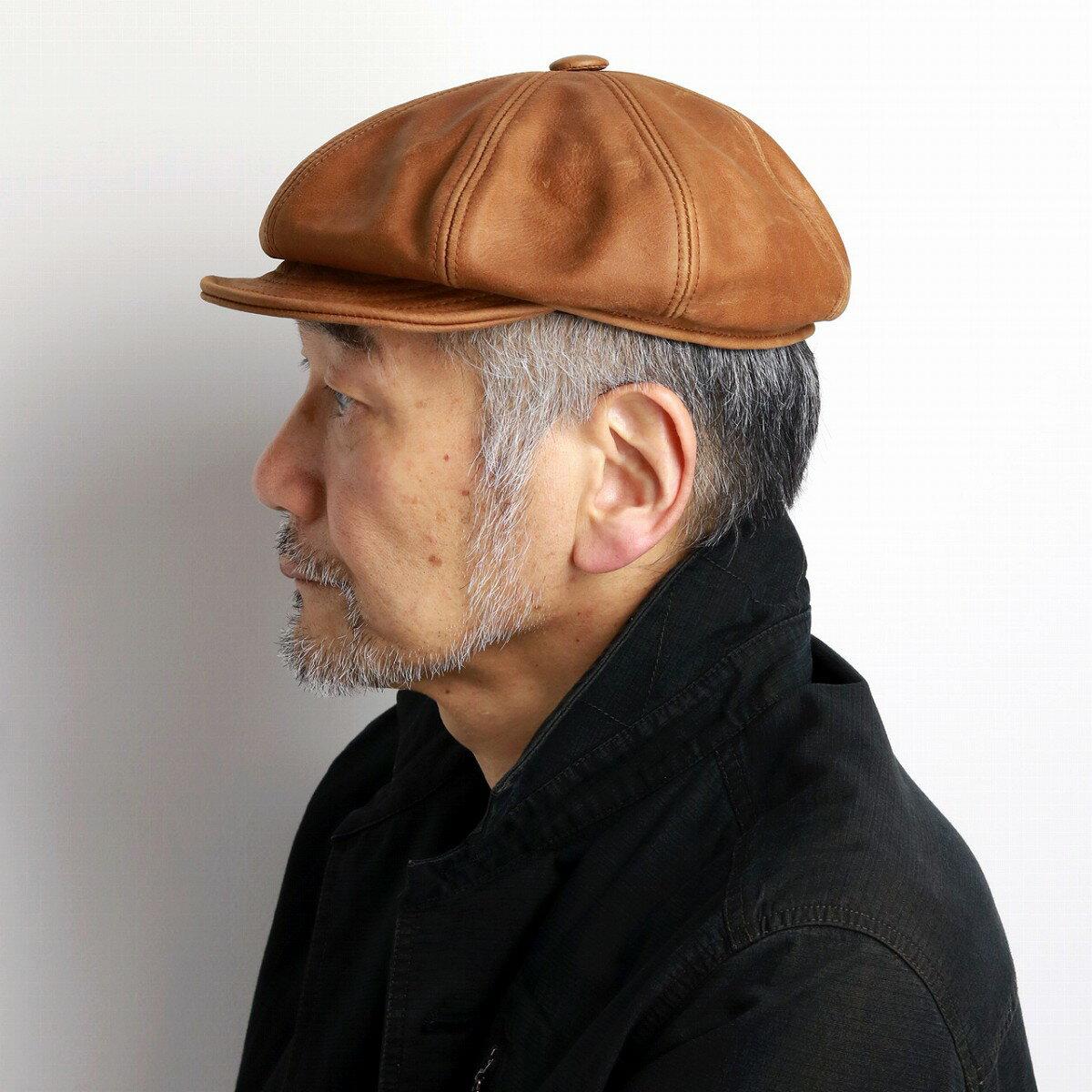 NEW YORK HAT レザー キャスケット メンズ 大きいサイズ キャスケット帽 ヴィンテージレザー Vintage Leather Spitfire 帽子 本革 レザーキャップ 9223 無地 革製品 革小物 紳士 / ラストカラー RUST [ ivy cap ] 男性 帽子 40代 50代 60代 プレゼント クリスマス ギフト