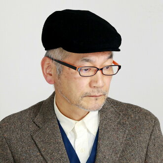 カシュケットハンチングメンズ ivy cap KASZKIET quilting warmth worth cotton 100% / black black [ivy cap] man Christmas gift present with the size 60cm 62cm size adjustment that 100% of hat Lady's corduroy plain fabric hunting cap hat cotton has a big in the fall and wi